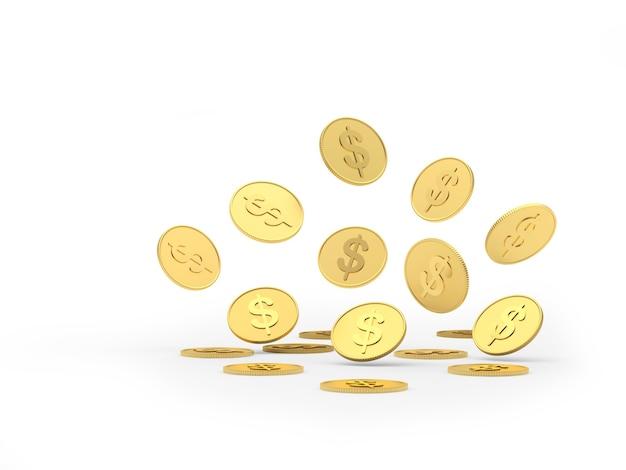 Moedas de dólar dourado estão caindo 3d
