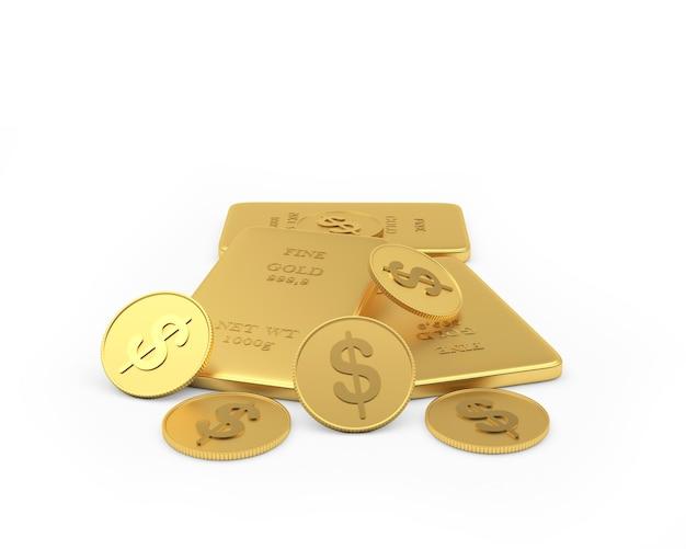 Moedas de dólar e barras de ouro 3d