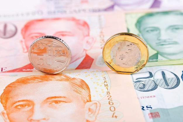 Moedas de dólares de singapura