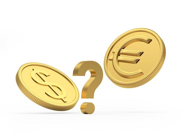 Moedas de euro e dólar com um ponto de interrogação