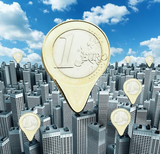 Moedas de euro sobre dinheiro em edifícios modernos no centro da cidade
