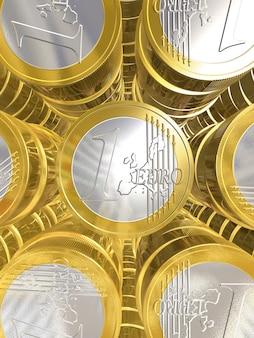 Moedas de euro tridimensionais