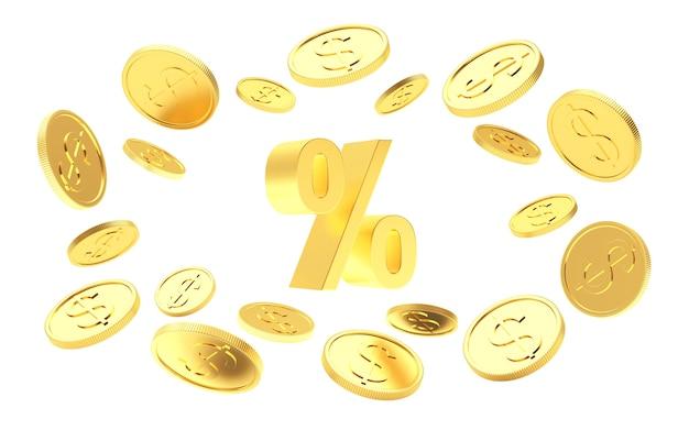 Moedas de ouro ao redor do sinal de porcentagem