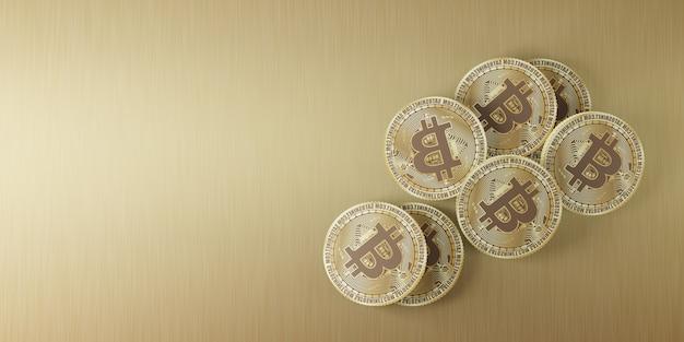 Moedas de ouro bitcoin dispostas em uma linha e empilhadas no piso de madeira ilustração 3d