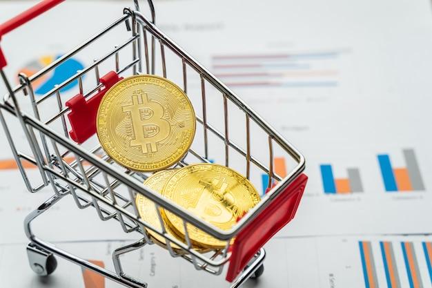Moedas de ouro bitcoin no carrinho de compras mini