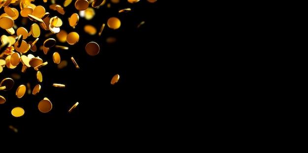 Moedas de ouro caindo sobre fundo preto, com espaço de cópia