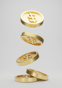 Moedas de ouro com cifrão caindo ou voando isolado no fundo branco. jackpot ou conceito de puxão de cassino. renderização 3d.
