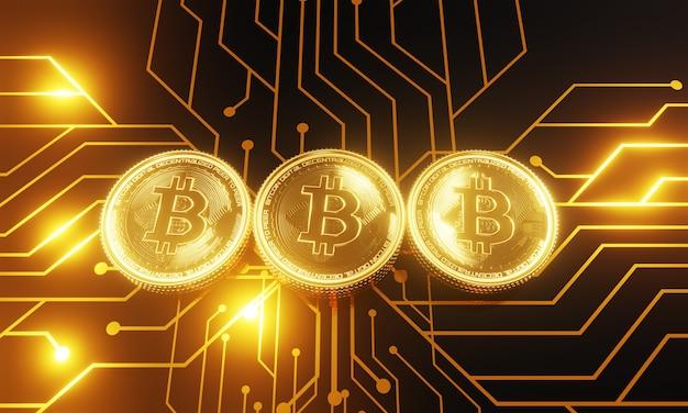 Moedas de ouro com símbolo de bitcoin em uma placa-mãe