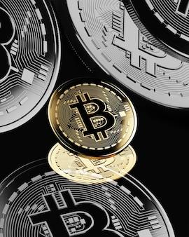 Moedas de ouro com símbolo de bitcoin