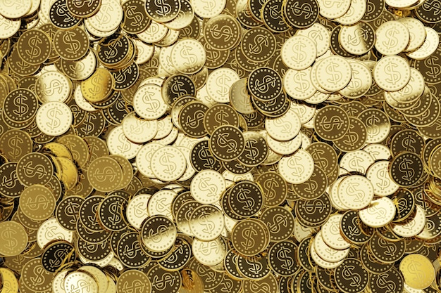 Moedas de ouro com símbolo do dólar