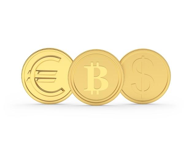 Moedas de ouro com sinais de dólar, euro e bitcoin