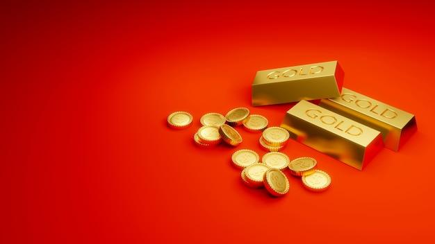 Moedas de ouro de renderização 3d em fundo vermelho no conceito de riqueza e riqueza do tesouro