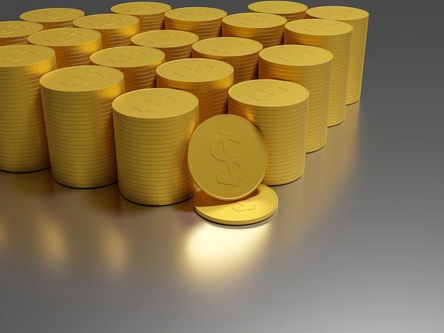 Moedas de ouro dinheiro em pilhas