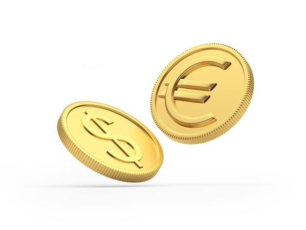Moedas de ouro dólar e euro