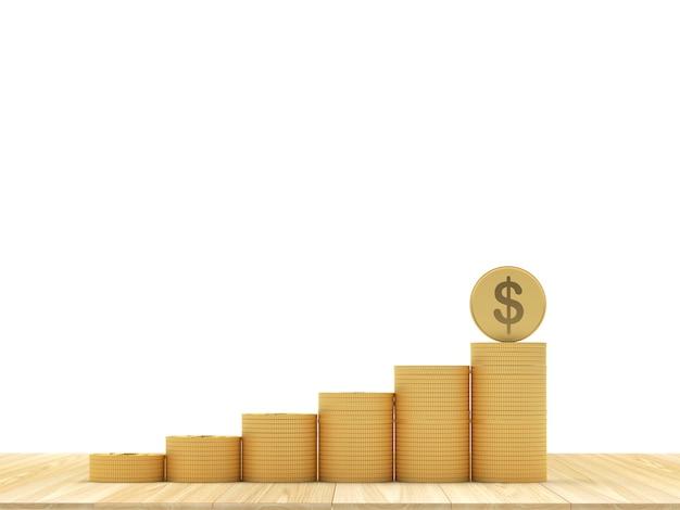 Moedas de ouro em pilhas como um gráfico com moedas de dólar