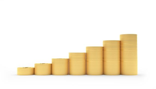 Moedas de ouro em pilhas como um gráfico