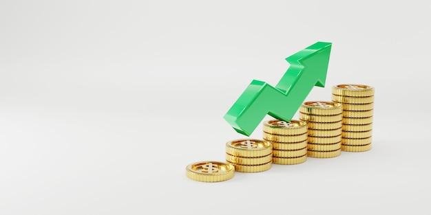 Moedas de ouro empilhadas com o aumento da seta verde sobre fundo branco e espaço de cópia para lucro de investimento econômico e depósito de juros do conceito de economia, técnica de renderização 3d.