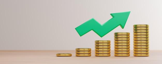 Moedas de ouro empilhadas com seta verde crescente sobre fundo branco e espaço de cópia para lucro de investimento econômico e depósito de juros do conceito de economia, técnica de renderização 3d.