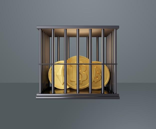 Moedas de ouro estão trancadas em uma cela de prisão preta. renderização de ilustração 3d. imagem do trajeto de grampeamento.