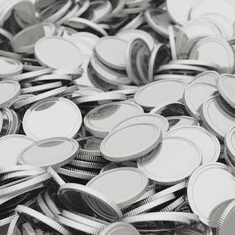 Moedas de prata espalhadas closeup fundo