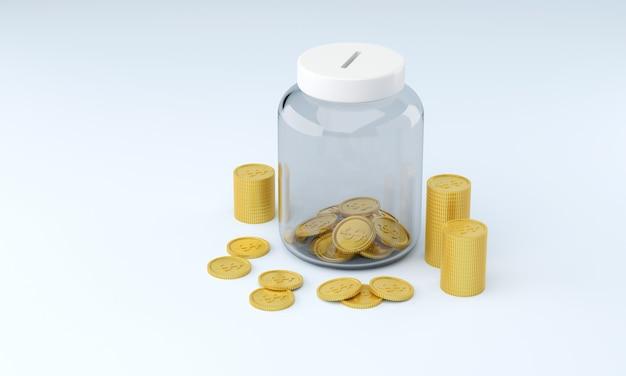 Moedas de renderização 3d em frasco de vidro para poupar dinheiro conceito financeiro