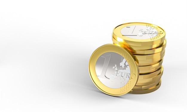Moedas de um euro se amontoaram. renderização 3d. conceito de dinheiro.