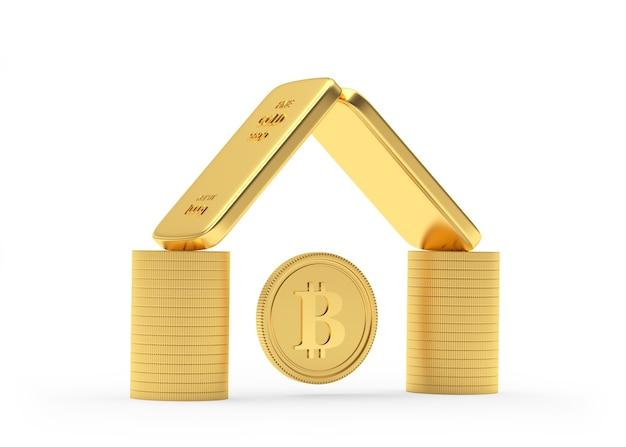 Moedas e barras de ouro empilhadas como uma casa com uma moeda bitcoin