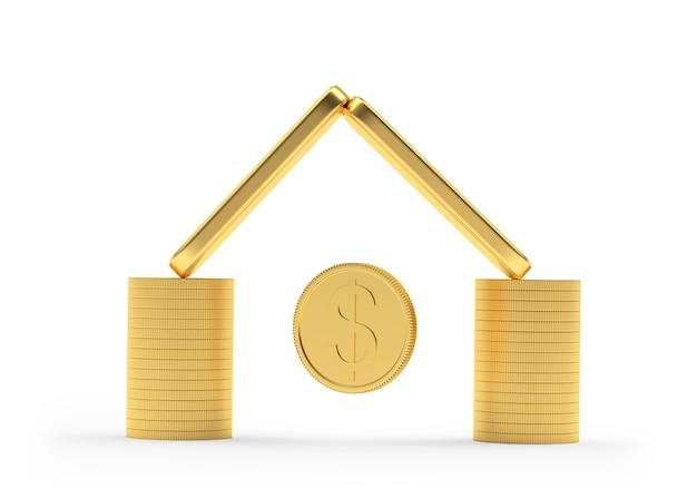 Moedas e barras de ouro empilhadas em um ícone de casa com uma moeda de um dólar