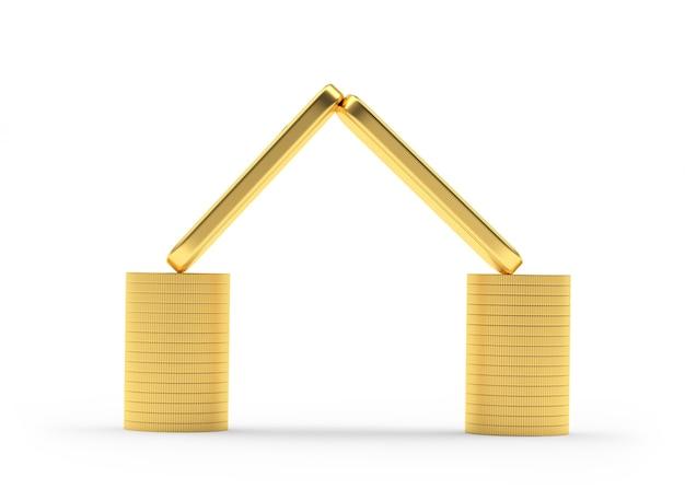 Moedas e barras de ouro empilhadas em um ícone de casa