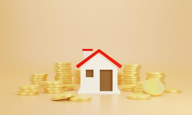 Moedas e casa com fundo pastel. economize dinheiro nas finanças do negócio para comprar uma casa.