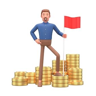 Moedas e homem de negócios de personagem de desenho animado vai sucesso financeiro.
