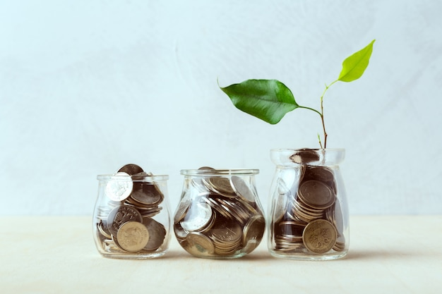 Moedas em garrafas de vidro, idéias de dinheiro de poupança
