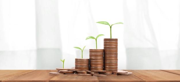 Moedas em pilhas e plantas em crescimento