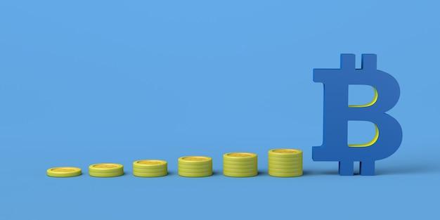 Moedas empilhadas e símbolo de bitcoin conceito de crescimento monetário em criptomoedas ilustração 3d