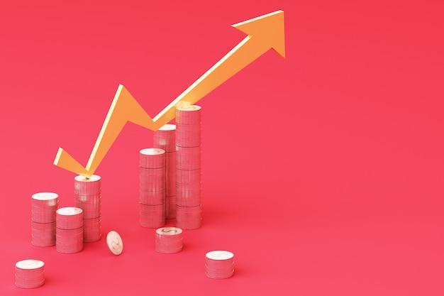 Moedas gráfico gráfico de crescimento de negócios gráfico 3d render
