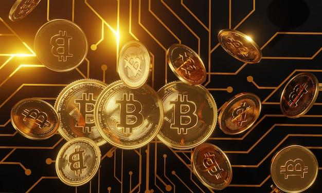Moedas virtuais bitcoins na placa de circuito impresso