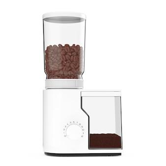 Moedor de café branco com grãos de café em um fundo branco. renderização 3d