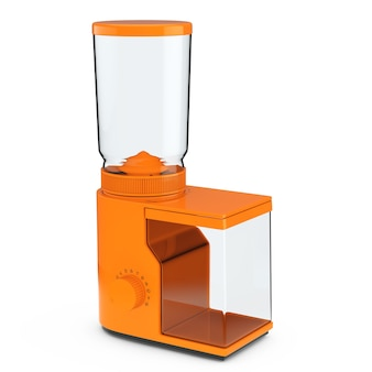 Moedor de café laranja em um fundo branco. renderização 3d