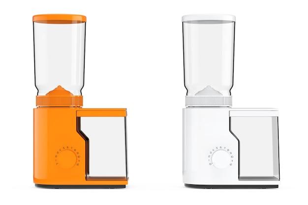 Moedores de café laranja e branco em um fundo branco. renderização 3d