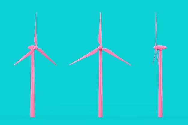 Moinho de vento de turbina eólica rosa no estilo duotone sobre um fundo azul. renderização 3d