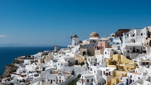 Moinho de vento, em, oia, vila, de, santorini, ilha, grécia