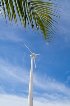 Moinho de vento nas proximidades da praia para obter energia verde