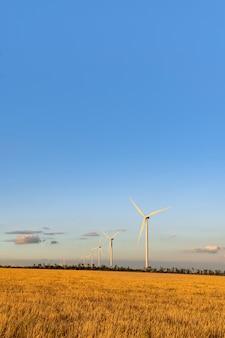 Moinhos de vento contra o céu azul em um campo amarelo. fontes de energia alternativa. quadro vertical.