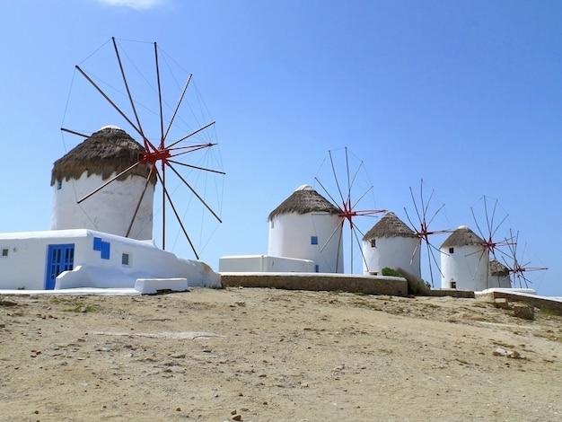 Moinhos de vento de chora, o famoso marco da cidade de mykonos, ilha de mykonos, grécia