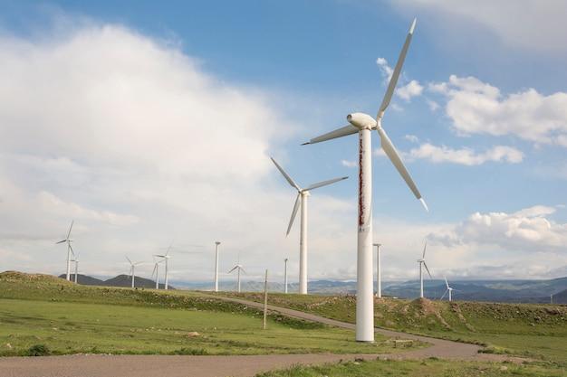 Moinhos de vento fazenda moderna tecnologia de geração de energia