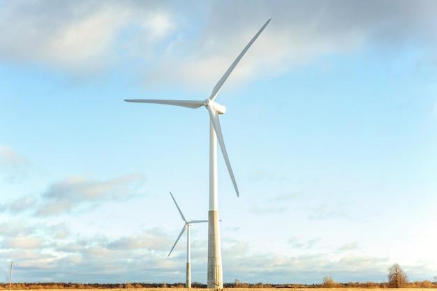 Moinhos de vento para produção de energia elétrica ecológica