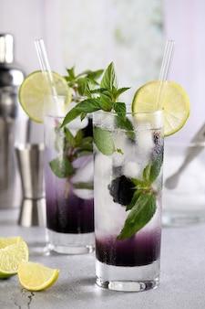 Mojito de blackberry com coquetel orgânico refrescante e frutas vermelhas em um copo