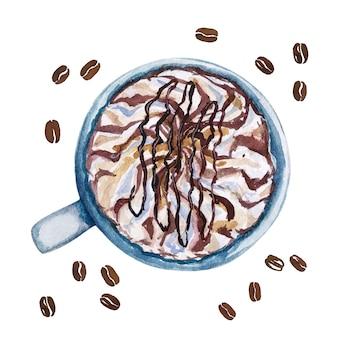 Mokha da xícara de café da aquarela, vista superior.