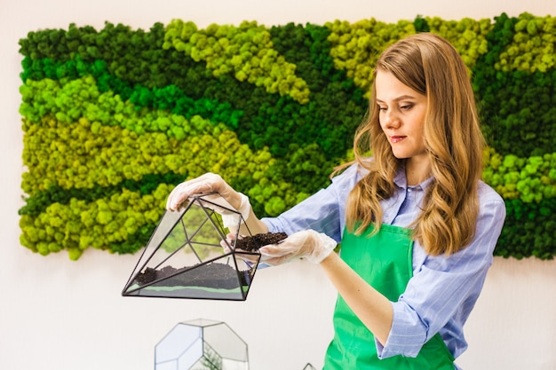 Molde de vidro para o cultivo de plantas e decoração de interiores, areia, terra, suculentas, cactos e plantas, plantas de plantas femininas