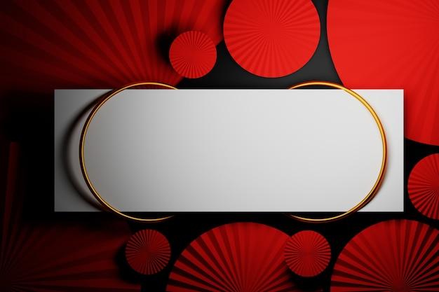 Molde decorativo com círculos vermelhos dobrados e anéis dourados